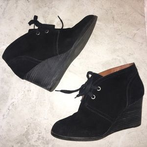 Lucky Brand Black Suede Lace Up Wedge Booties